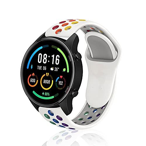 Rosok Transpirable Watch Correa Compatible con Xiaomi Mi Watch (22mm), Deportivas de Silicona Arco Iris Correas de Repuesto para Xiaomi Mi Watch (22mm) - Blanco