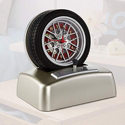 SWNN Reloj Despertador Neumático Regalo Elemento De Automóvil Creativo Reloj Despertador Giratorio Decoración De Sobremesa Reloj De Moda