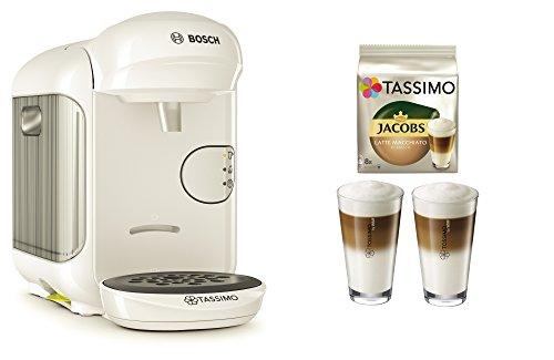 Bosch TASSIMO Vivy 2 Bundle + Latte Macchiato Gläser Set + TDisc Latte Macchiato (Weiss)