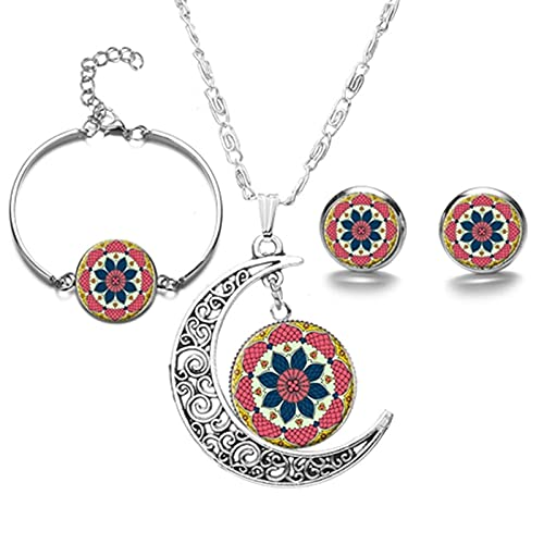 Lotus Jewelry Mandala Flowers Photo Glass Colgante Collar Pendientes Pulsera Set De Fiesta