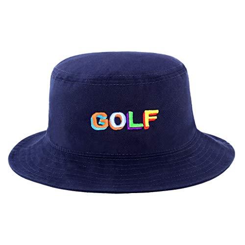 Unisex 100% Cotton Packable Summer Travel Bucket Beach Sun Hat Outdoor Cap Blue