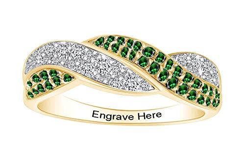 AFFY パーソナライズ 模造誕生石 & ホワイトキュービックジルコニア 刻印 結婚指輪 スターリングシルバーに14Kイエローゴールド