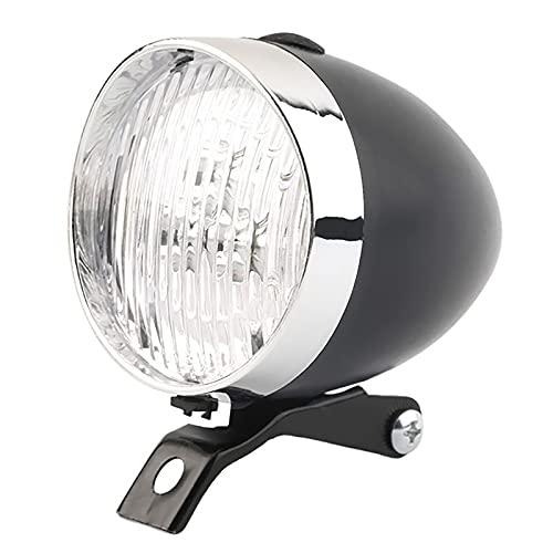 FGKLU Retro Luz Bicicleta, 3 Cuentas LED Luces Delantera Bicicleta, Luz Antiniebla Delantera con Soporte, Negro