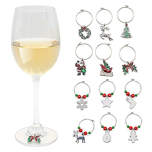 Woowell Wine Charms for Glasses Stemmed Goblet Christmas Theme Wine Glass Tags White Steel Ring Markers