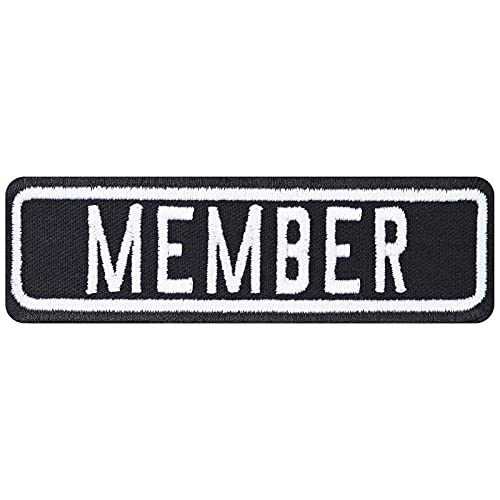 Biker Aufnäher: Member Rank Patch Motorradclub - Rang Abzeichen MC Club Aufbügler - Geschenk Motorradfahrer Sticker zum aufnähen Lederjacke/Boots/Koffer - schwarz - 100x30mm