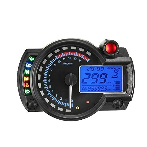 Motorrad-Tacho Dual-Tachometer Geschwindigkeit Tac LCD-Digital-Geschwindigkeitsmesser Tachometer 2-4 Zylinder for Universalmotorrad-Motor Bike Digitaltacho für Motorrad-Roller-ATV