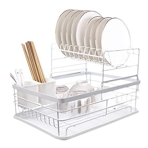 BriSunshine Escurreplatos de metal de 2 niveles, organizador de platos y escurridor de platos multifuncional para la encimera de la cocina con soporte para utensilios, gran capacidad, color blanco
