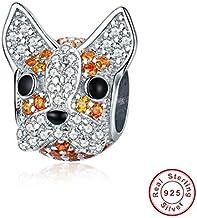 XRLSONE Pulsera De Plata De Ley 925 Naughty Rabbit Cat Paw Heart Beads S925 Cz Dog Footprint Charms Fabricación De Joyas
