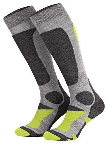 Piarini 2 Paar Unisex Skisocken Skistrumpf Herren, Damen und Kinder für Wintersport, Snowboard atmungsaktive Knie-Strümpfe Farbe Grau-Grün Gr.35-38