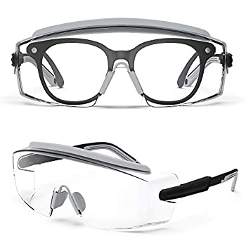 Safety Glasses with Anti Fog Lens Safety Goggles Fit Over Glasses,Protective Glasses with Adjustable Frame for Nurses Worker Outdoor Sport Anti-UV Shooting Glasses Grey Frame&Clear Lens