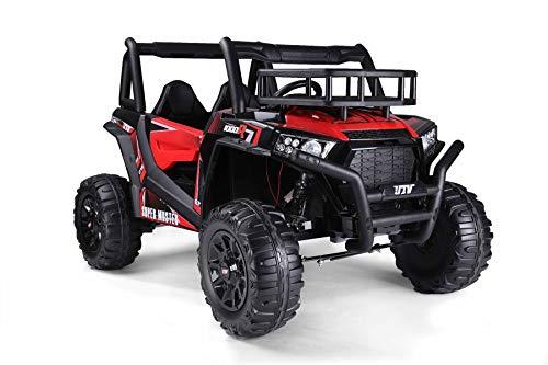 RIRICAR UTV 24V Elektrisches Auto für Kinder, rot, Zweisitzer, 2 x 200 W Motor, Eva-Räder, gefederte Achsen, elektrische Bremse, gepolsterter Sitz, 2,4 GHz Ferbedienung, USB, SD-Karte