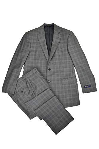 Brooks Brothers Regent Fit Men's 100% Wool Blend Two Piece Suit Dark Grey Plaid (40R Regular 33W)