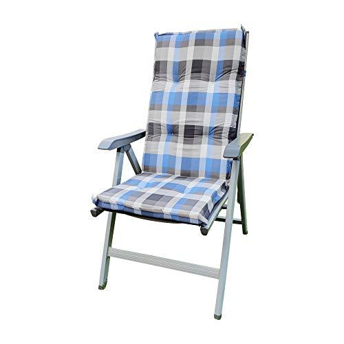 Schwar Textilien Gartenstuhlauflagen Stuhlauflage Sitzauflagen Auflage für Hochlehner Grau Blau kariert 120x50x6 cm