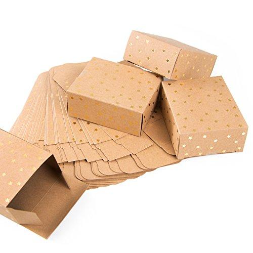 Logbuch-Verlag 24 kleine Geschenkschachteln brau weihnachtlich - Kraftpapier Boxen 10 x 4 x 8 cm Weihnachtsverpackung DIY Adventskalender Verpackung