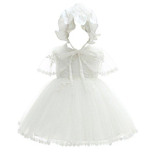 Coozy Baby Girl Christening Dress Princess Party Wedding Dress Baptism Growns Dresses 3Pcs Set, Ivory, 0 - 6 Months