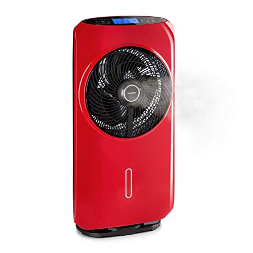 KLARSTEIN Cool Tropic - Enfriador de Aire, Ventilador Vertical con humidificador de Aire, Oscilación de 90°, Tecnología WhisperFlow, 48 W, 2820 m³/h, 8 velocidades, 1.6 L, Control táctil, Rojo