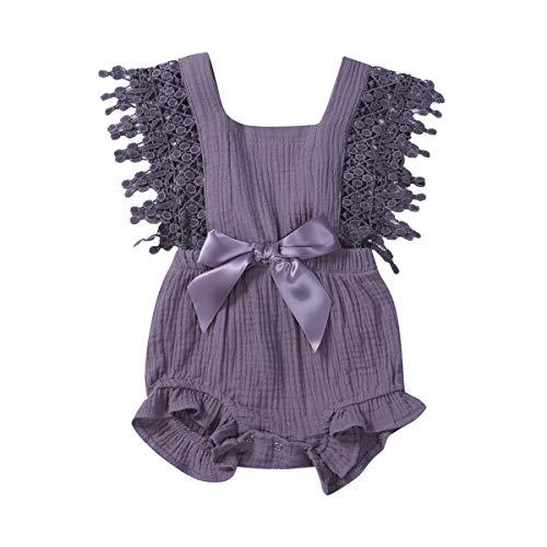Newborn Infant Baby Girl Clothes Lace Halter Backless Jumpsuit Romper Bodysuit Sunsuit Outfits Set (Light Purple, 12-18 Months)