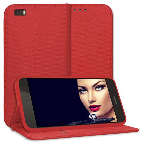 mtb more energy® Schutz-Tasche Bookstyle für Huawei P8 Lite (ALE-L21. / BJ 2015/5.0'') - rot - Kunstleder - Klapp-Cover Hülle Wallet Hülle