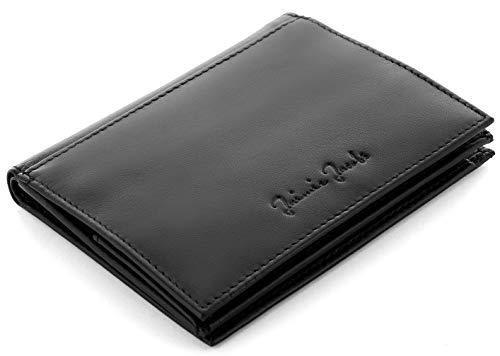 JAIMIE JACOBS Portafoglio in vera pelle'Folder Boy' borsellino sottile con scomparti per monete banconote e 20 carte taccuino verticale da donna e da uomo con protezione RFID (Nero)