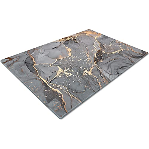 Chopping Boards | Glass Worktop Savers | Worktop Protectors Heat Resistant | Catering Chopping Boards | Chopping Boards Glass | Over The Sink Chopping Board | Large | Grey Gold Black