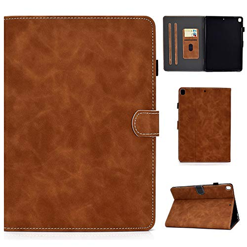 Folio Case for iPad Air 3rd Gen 10.5' 2019 iPad Pro 10.5' 2018 Cover Slim Fit Multi Angle Stand Smart Shell Auto Sleep Wake Protective Wallet Case with Pencil Holder (Brown)