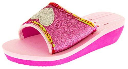De Fonseca Eté Tongs Sandales Chaussures De Plage Filles EU 28 Fuchsia Rose avec Paillettes Argent Coeur