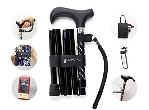 Merry Sticks, bastón Plegable Ajustable de diseño, Negro Brillante, Incluye una práctica Bolsa para su bastón y un Soporte para Bastones Reflectante Inteligente ✅