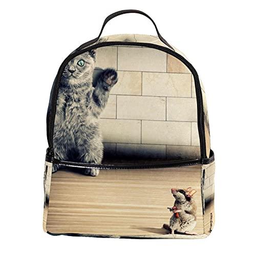 LUPIN Zaino Scuola College Bookbag interessante Cat mouse