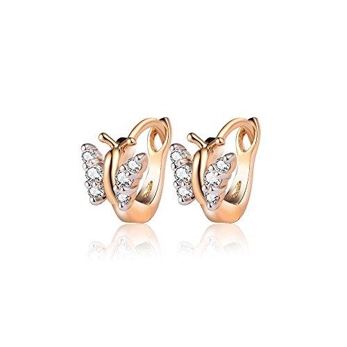 BOBIJOO Jewelry - Paar Ohrringe Ohren, Kind, Mädchen, Baby, Vergoldet Gold Plated Creolen Schmetterlinge Strass Falschen Diamanten