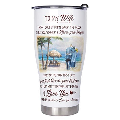 Xuanwuyi To My Wife - Taza de café de acero inoxidable con aislamiento al vacío para niños, 900 ml, color blanco
