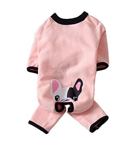 BBEART Hunde-Pyjama, warmer Winter-Fleeceanzug für Hunde, Mops, Winterkleidung, Overall, Bulldo, Französische Bulldogge, Kostüm Bekleidung für kleine Hunde, mittelgroße und große Hunde (M, Pink)