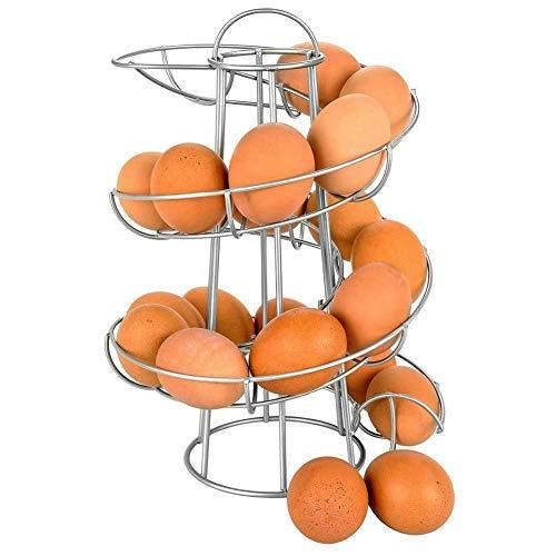 Greenf Support de Distributeur Oeuf Support à Oeufs Spirale, Porte-Oeufs Paniers à œufs en Métal Chrome, Œuf Stockage Support pour Œufs Rangement Contient Environ 12–18 Oeufs, Argent