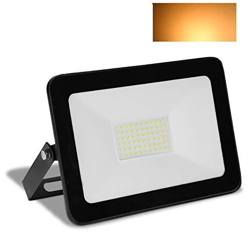 Hengda 50W 4000LM Warmweiß LED Strahler Außenstrahler Flutlichtstrahler IP65 Wasserdicht LED Scheinwerfer 3000K für Garten, Garage, Spielplatz, Party