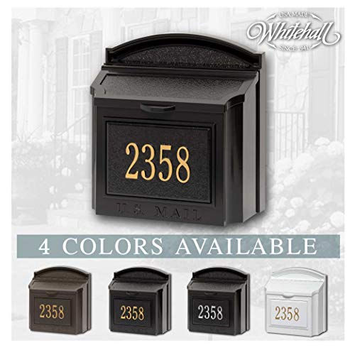 Personalized Whitehall Wall Mailbox with Address Plaque (4 Colors Options Available)