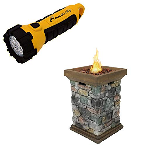 Toucan City LED Flashlight and Decor 30 in. Square Fiberglass Rock Column Design Propane Gas Fire Pit WAR-955