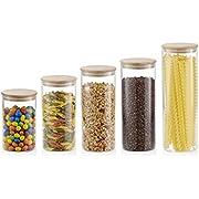 5er Set Vorratsgläser mit Bambus Deckel in verschiedenen Größen | Aufbewahrungsglas für Pasta, Müsli, Gewürze, Kräuter | Vorratsdosen mit 5 zusätzlichen Dichtungen | Borosilikatglas spülmaschinenfest