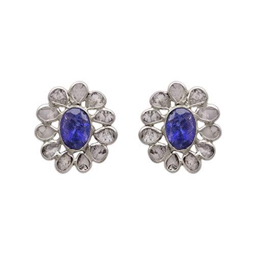 2.00 CTW Pendientes de botón floral de diamantes Polki sin cortar con tanzanita genuina - Plata de ley 925 - Pendiente de botón impresionante en racimo