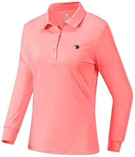 JINSHI Donna Polo Manica Lunga Shirt da Lavoro Sportivo Golf Camicia con Colletto Rosa S