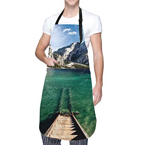 Throwpillow Wasserdicht Chef Kochschürze mit TaschenNaturpark von Fanes-Sennes-Braies Küchenschürze zum Kochen,Grillen,Basteln,Restaurant,café-50X70cm