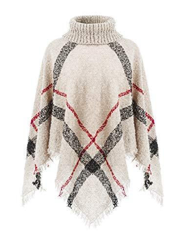 Ferand Warmer Weicher Karierter Damen Poncho-Pullover mit Kapuze oder Rollkragen, Rollkragen Version: Beige, Einheitsgröße (Beste Passform S-L)
