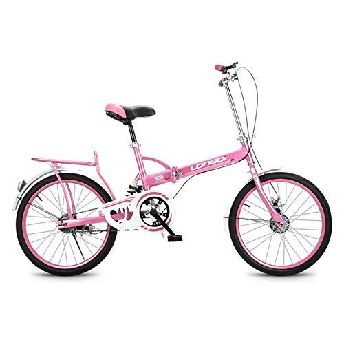 ZPEE Kompakte Pendler-Fahrrad Mit Heckrack,Ultra-licht 20in Klappräder Für Erwachsene Studenten,Variable Geschwindigkeit Kohlenstoffstahl Faltrad