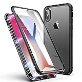 Funda para iPhone X/XS, ZHIKE Diseño de una Sola Pieza Funda de Adsorción Magnética Súper Delgada de Vidrio Templado con Cubierta Magnética Incorporada Cobertura de Pantalla Completa (Negro Claro)