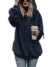 Vrouwen Hoodie Sweatshirt Dames Lange Mouw Effen Gekleurde Fleece Fuffy Pullover Top Lichtgewicht Katoen Jas Bovenkleding