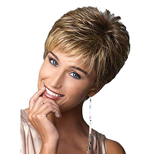 Perruque Femmes ou Filles Court Noir Blonde Mélange Droite Cheveux Moelleux Naturel Synthétique Respirant Cheveux Net Cosplay Halloween Robe Partie Perruques