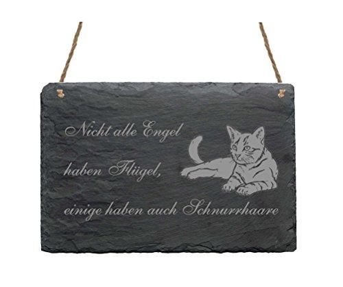 Schiefertafel « NICHT ALLE ENGEL HABEN FLÜGEL, MANCHE HABEN AUCH SCHNURRHAARE » Schild Dekoschild Wanddeko - Hauskatze Katze Kater