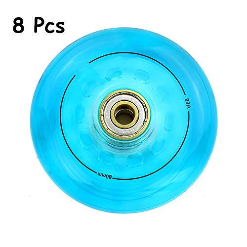 SSCYHT Hockey Rollen Inline-Skates, 72 Mm / 76 Mm / 80 Mm, Inline Rollers Skate Rad Ersetzen, Transparentes PU-Rad,Blau,76mm