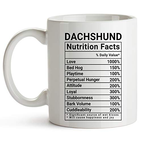 YouNique Designs Dachshund Mug, 11 Ounces, White, Nutrition Facts Coffee Mug, Weiner Dog Gifts for Women, Wiener Dog Gifts