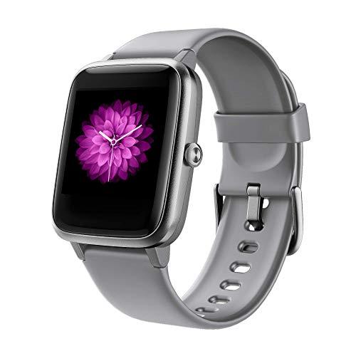 GRDE Smartwatch Bluetooth 1.3 Zoll Voll Touchscreen Fitness Armband Sportuhr 5ATM Wasserdicht Fitness Tracker mit Pulsuhr Schrittzähler Musiksteuerung Stoppuhr Anruf SNS Smart Watch Damen Herren