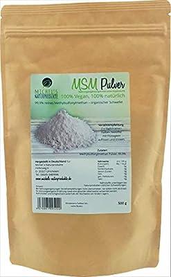 Michel´s Naturprodukte - MSM Pulver, 500g, 99,9% Reines Methylsulfonylmethan, Ohne Zusatzstoffe - Ohne Gentechnik – Vegan, Organischer Schwefel