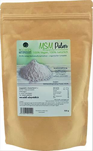 Michel´s Naturprodukte - MSM Pulver, 500g, 99,9{82c1bbf153308f4044ddd3f3079393f2e6305039ebafb94b5dd424538a332ed0} Reines Methylsulfonylmethan, Ohne Zusatzstoffe - Ohne Gentechnik – Vegan, Organischer Schwefel